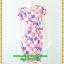 2941ชุดเดรสทำงาน เสื้อผ้าคนอ้วน สีชมพูลายดอกวินเทจเล่นกุ๊นแถบสีคอกลมกระโปรงป้ายเสริมชิ้นลอยพาดครึ่งตัว เพิ่มลายดอกสลับบนตัวชุดอย่างหรูหรา thumbnail 1