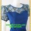 2827เสื้อผ้าคนอ้วน ชุดทำงานสีน้ำเงินสง่างามเปล่งประกายออร่างามออกงานคอกลมปูลูกไม้โปร่งบนแต่งแขนโปร่งสไตล์หรูเซ็กซี่ thumbnail 2