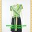 2802ชุดเสื้อผ้าคนอ้วน ชุดทำงานคอจีนลายริ้วเหลืองเขียวสไตล์เปรี้ยวหรูไฮโซชุดคอจีนป้ายสำเร็จเก็บทรงเนี๊ยบสุด thumbnail 1