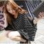เสื้อยืดแฟชั่นเกาหลี ทรงปีกค้างคาวลายริ้ว แขนเสื้อชีฟอง-1073-สีดำ thumbnail 2