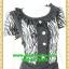 2646ชุดทํางาน เสื้อผ้าคนอ้วนผ้าลายม้าลายขาวดำแต่งระบายคอด้านหน้าเพิ่มความหวานจับคู่กระโปรงสีเข้มสำหรับสาว thumbnail 2