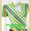 2802ชุดเสื้อผ้าคนอ้วน ชุดทำงานคอจีนลายริ้วเหลืองเขียวสไตล์เปรี้ยวหรูไฮโซชุดคอจีนป้ายสำเร็จเก็บทรงเนี๊ยบสุด thumbnail 2