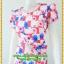 2941ชุดเดรสทำงาน เสื้อผ้าคนอ้วน สีชมพูลายดอกวินเทจเล่นกุ๊นแถบสีคอกลมกระโปรงป้ายเสริมชิ้นลอยพาดครึ่งตัว เพิ่มลายดอกสลับบนตัวชุดอย่างหรูหรา thumbnail 3
