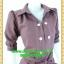 2494ชุดทํางาน เสื้อผ้าคนอ้วนชุดปกเชิ๊ตสุภาพผ้าโอซาก้า แขนยาวตุ๊กตา โชว์ด้ายขาวตัดทั้งชุดเพิ่มลวดลายเสริมด้วยกระดุมสวยงาม thumbnail 2