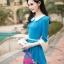 ชุดเดรสแฟชั่นเสื้อต่อกระโปรงลายดอก - สีฟ้า thumbnail 1