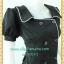 2186เสื้อผ้าคนอ้วนสีดำ ชุดทำงานดำผ้าโซล่อน คอเหลี่ยมปกปีกนก กระดุมคู่ แขนตุ๊กตากุ๊นขาวยาวด้านหน้ามีระดับสไตล์ออริจินัลคลาสสิค thumbnail 3