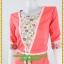 3001ชุดทํางาน เสื้อผ้าคนอ้วนสีส้มลายดอกตัดต่อผ้าพื้นและลายคั่นด้วยกุ้นสี แขนยาว สไตล์เนี๊ยบสุดหรูมีรสนิยมเลือกชุดทำงาน thumbnail 3