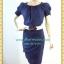 1211ชุดเดรสทำงาน เสื้อผ้าคนอ้วนมั่นใจสไตล์สาวเกาหลี ผ้าโซล่อน คอกลมจีบพับด้านหน้าอกดีไซน์หรู แขนตุ๊กตา เสริมชิ้นลอยที่กระโปรงพร้อมซับใน thumbnail 1