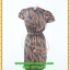 3012เสื้อผ้าคนอ้วน ชุดทำงานลายโมเดิร์นสไตล์หวานเรียบร้อยแขนระบายปิดไหล่คอกลมคาดโบว์ thumbnail 4