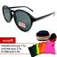 แว่นตา แว่นกันแดด UV400 ทรงกลม กรอบดำ เลนส์เทา thumbnail 1