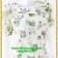 2921เสื้อผ้าคนอ้วน ชุดทำงานลายดอกสีเขียวตองอ่อนคอระบายม้วนกุหลาบด้านข้างเก๋สไตล์หวาน thumbnail 2