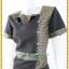 3176เสื้อผ้าคนอ้วนผ้าทอลายไทยแต่งลายปกแขนแทรกลายกระโปรงทรงสามเหลี่ยมคล้ายหางปลาสไตล์เนี๊ยบหรู thumbnail 3