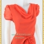3120เสื้อผ้าคนอ้วน ชุดทำงานคอถ่วงสีส้มสดเนื้อผ้ายืดชีฟองรองซับในทั้งชุด คอถ่วงแขนจีบไหล่ย่นด้านข้าง ทรงจั๊มเอว ผูกโบเอวสวยสไตล์หวานเรียบร้อย thumbnail 2