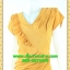 2804 ชุดออกงานคนอ้วน ชุดไปงานแต่ง ชุดเดรสทำงาน เสื้อผ้าคนอ้วนคอวีสีเหลืองตีเกล็ดและระบายด้านหน้าด้วยผ้าวูลพีซสไตล์เนี๊ยบหรู thumbnail 3
