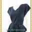 3207ชุดเดรสทำงานสีดำ เสื้อผ้าคนอ้วนดำ ผ้าซูกาล่าคอวีแขนสั้นโดดเด่นเพิ่มความหรูหราด้วยระบายชายเสื้อสไตล์หรูเลิศ thumbnail 2