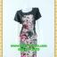 2435ชุดทํางาน เสื้อผ้าคนอ้วนคอกลมดอกตัดต่อพิ้นช่วงบ่าปรับสรีระให้บางและพรางรูปร่างเทรนด์คลาสสิคสีดำมีซับใน thumbnail 1