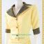 3168เสื้อผ้าคนอ้วนเนื้อทรายสีเหลืองแต่งปกและแขนผ้าไทยโดดเด่นสง่างาม thumbnail 3