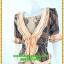 3043ชุดแซกทำงาน เสื้อผ้าคนอ้วนผ้าลูกไม้ดำปูซับในส้มคลุมด้วยลายกราฟฟิคแต่งระบายปกแขนสไตล์หรูเนี๊ยบ thumbnail 3