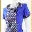 3191เสื้อผ้าคนอ้วนผ้าไทยสีน้ำเงินทอลายด้านหน้าคอบัวเอียงข้างมีกระดุมแต่งพื้นข้างลำตัวกระเป๋าล้วงเอว สไตล์หวานเรียบร้อย thumbnail 3