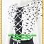 2645ชุดทํางาน เสื้อผ้าคนอ้วนลายปลาขาวดำเล่นโบไขว้กากบาทด้านหน้าโดดเด่นด้วยคอปกจีบแยกผ้ามอสเคป thumbnail 3