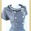 1460ชุดเดรสทำงาน เสื้อผ้าคนอ้วน กรมท่าลายตารางเส้นขาวคอกลมจีบทวิสต์รอบคอเป็นระบายผูกโบข้าง กุ๊นขาว2ข้างด้านหน้าเรียบง่ายดูภูมิฐานมีซับในพรางรูปร่างด้ายลายที่คลาสสิคใส่ได้หลายโอกาส thumbnail 2