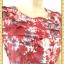 1928ชุดเดรสทำงาน เสื้อผ้าคนอ้วนสีม่วงแดงพิมพ์ลายดอกแทรกลูกไม้ปักบนชุดสลับเกล็ดกระดุมหน้า ผูกโบสวยหวาน thumbnail 3
