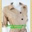 2591ชุดทํางาน เสื้อผ้าคนอ้วนปกเชิ๊ตกระดุมหน้าแขนยาวทรงเอเรียบเล่นลายปกแขนสาบ thumbnail 2