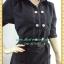 2315ชุดทํางาน เสื้อผ้าคนอ้วนชุดดำสุภาพผ้าซุปเปอร์แบล็คคอปกเชิ้ต แขนตุ๊กตา โชว์ด้ายขาวตัดทั้งชุดเพิ่มลวดลายเสริมด้วยกระดุมสวยงาม thumbnail 2