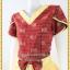 3163เสื้อผ้าคนอ้วนผ้าไทยเนื้อทอ2หน้าซับผ้ากาวอย่างดีสีแดงสลับเหลืองแขนกลีบบัวแต่งโบเอวกระโปรงมีระบาย thumbnail 3