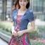 ชุดเดรสแฟชั่น ผ้ายีนส์เทียมลายดอกไม้สวย สวย thumbnail 1