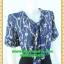 2551ชุดทํางาน เสื้อผ้าคนอ้วนผ้าลายสีน้ำเงินเข้มแขน2ชั้นสไตล์หรูเบาสบายรับซัมเมอร์ คอผูกโบสไตล์สุภาพ เรียบร้อย มีซับใน thumbnail 2