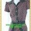1996ชุดเดรสทำงาน เสื้อผ้าคนอ้วนลายจุดกราฟฟิคหรูปกเชิ๊ตแขนกลีบบัวกระดุมหน้ากระโปรงเข้มพรางสะโพกสไตล์สาวมั่นคล่องตัว thumbnail 3