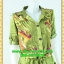 F2233ชุดแซกทำงาน เสื้อผ้าคนอ้วนลายเขียวปกเชิ๊ตเอวถ่วงผูกโบสไตล์สปอร์ต แขนยาวอินธนูทรงหลวมสวมใส่พรางรูปร่างผ้าอินโด thumbnail 2