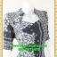 2758ชุดทํางาน เสื้อผ้าคนอ้วนสีน้ำเงินลายขาวดำสวยลุคหรูสง่างามคอปีนโค้งรูปหัวใจโชว์เครื่องประดับสไตล์ออกงานเรียบหรู thumbnail 2
