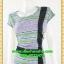 2625ชุดทํางาน เสื้อผ้าคนอ้วนลายเพ้นท์คอกลมแต่งแถบสีข้างเอวสวยหวานเบรคลายด้วยสีเขียวเรียบๆหรูอินเทรนด์ thumbnail 3