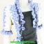 2838เสื้อผ้าคนอ้วน ชุดทำงานดอกฟ้าคลุมลายมีเกาะอกด้านในเย็บติดกัน ระบายคอเลิศหรูสีฟ้าหรูสง่างามสวมใส่ทำงานสไตล์หรูมั่นใจ thumbnail 2