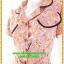 2938เสื้อผ้าคนอ้วน ชุดทำงานสีส้มลายกนกปกฮาวายตัดขอบดำเบรคลายสไตล์หวาน thumbnail 3