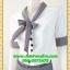 2789ชุดทํางาน เสื้อผ้าคนอ้วนผ้าลายตารางเล็กสีเทาแต่งปลายแขนสไตล์หรูเบาสบายรับลมหนาวคอผูกโบสไตล์สุภาพ เรียบร้อย มีซับใน thumbnail 3