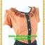 2545ชุดทํางาน เสื้อผ้าคนอ้วนผ้าลายดาวสีน้ำตาลแต่งระบายด้านหน้าเพิ่มความหวานจับคู่กระโปรงสีหวาน thumbnail 2