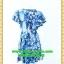 1872เสื้อผ้าคนอ้วน เสื้อผ้าแฟชั่นลายเม็ดหินสีฟ้าอ่อนทรงกระแทกเอวพรางหน้าท้องและต้นขา ระบายชายกระโปรงย้วย2ชั้น แขนระบายกุ๊นดำเพิ่มความคมชัดและความสวยงาม thumbnail 4
