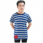Striped Short Sleeves Tee gray/blue
