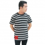 Striped Short Sleeves Tee gray/black
