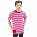 Striped Short Sleeves Tee gray/pink