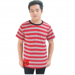 Striped Short Sleeves Tee gray/red