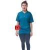 เสื้อยืดคอจีน Cotton100% L สีฟ้าอมเขียว