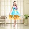 ชุดแต่งงาน [ ชุดพรีเวดดิ้ง Premium ] APD-016 เกาะอก สีฟ้า (Pre-Order)