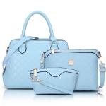 พร้อมส่ง กระเป๋าถือและสะพายข้าง เช็ต 3 ใบ กระเป๋าหรูคุณนายแฟชั่นเกาหลี Sunny-713 แท้ สีฟ้า 1 เช็ต