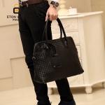 พร้อมส่ง กระเป๋าผู้ชายถือ นักธุรกิจ ใส่เอกสาร ลายสาน แฟชั่นเกาหลี รหัส Man-039 สีดำ 1 ใบ