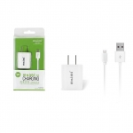 Maimi wall charge adapter 2 in1 Micro USB Caable (white)