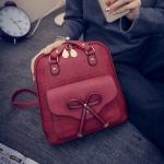 พร้อมส่ง กระเป๋าสะพายข้างหรือสะพายหลังได้เป้นักเรียน ผู้หญิงแฟชั่นเกาหลี แต่งโบว์ Fashion bag รหัส T-842 สีแดง